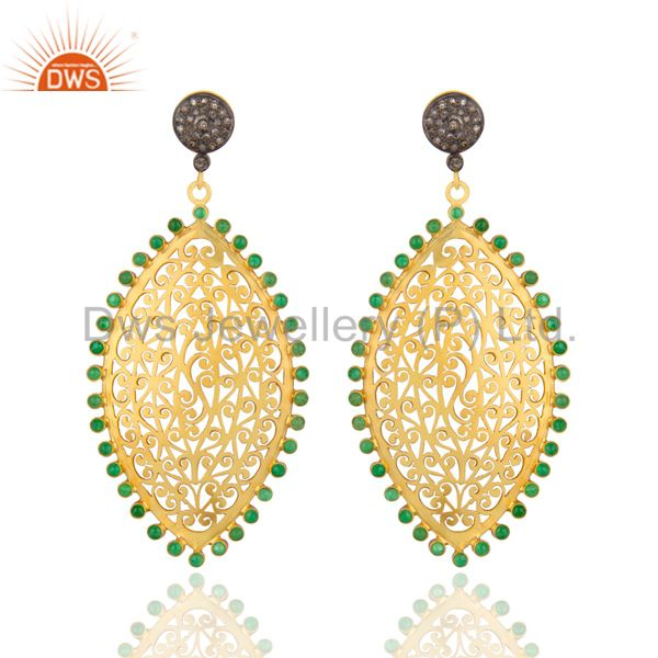 22K Gold Plated Sterling Silver Pave Diamond Emerald Filigree Dangle Earrings