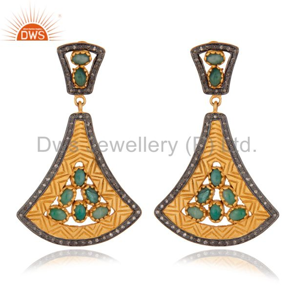 Exquisite 24K Gold Plated 925 Silver Earring Classic Emerald Earring Jewelry