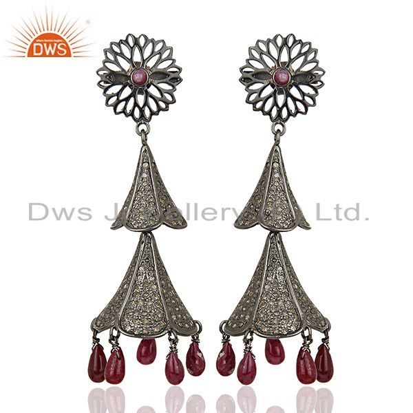Antique Pave Diamond Ruby Gemstone Silver Earrings Jewelry Supplier