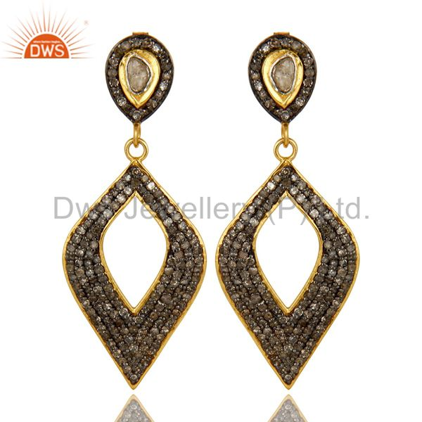 18K Yellow Gold Sterling Silver Pave Set Diamond Cutout Marquis Drop Earrings