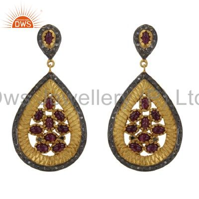 18K Yellow Gold Over Sterling Silver Pave Set Diamond Ruby Teardrop Earrings