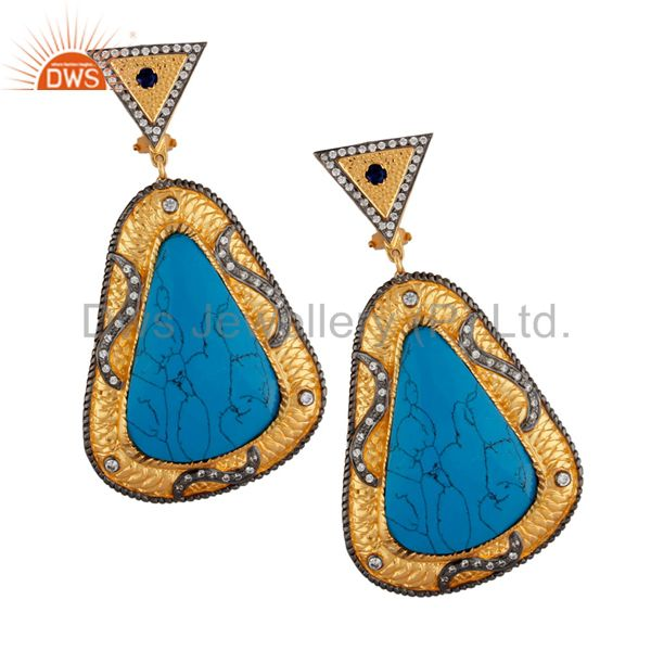 14K Yellow Gold Plated Brass Turquoise And CZ Fashion Designer Earrings
