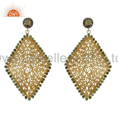 Emerald And Pave Set Diamond 18K Gold Over Silver Filigree Dangle Earrings