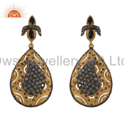 18K Gold And Sterling Silver Blue Sapphire Pave Diamond Drop Dangle Earrings