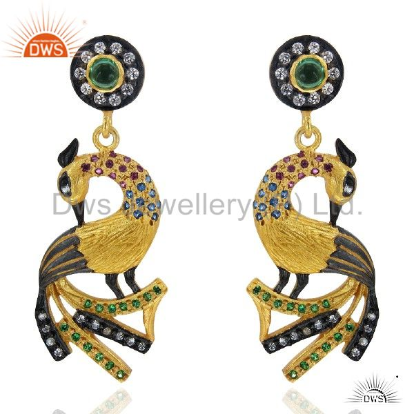 18K Gold Plated Sterling Silver Hydro Green And CZ Peacock Fashion Earrings