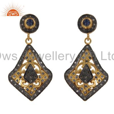 18K Yellow Gold And Sterling Silver Blue Sapphire Pave Set Diamond Earrings