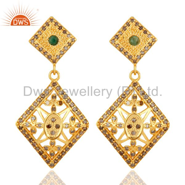 18K Yellow Gold Over 925 Sterling Silver Emerald & Pave Diamond Earrings