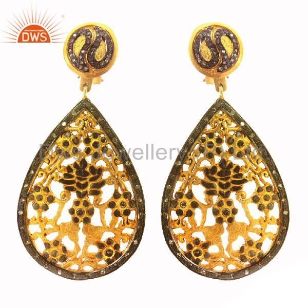 18K Yellow Gold Plated Brass Cubic Zirconia Fashion Designer Earrings