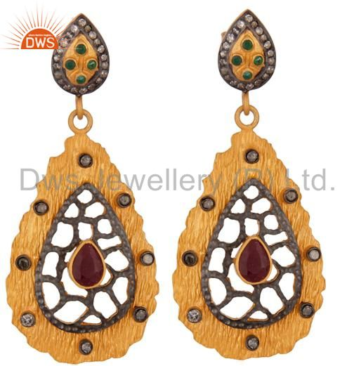 Handmade Gold Plated Sterling Silver Natural Ruby Gemstone Pave Diamond Earrings