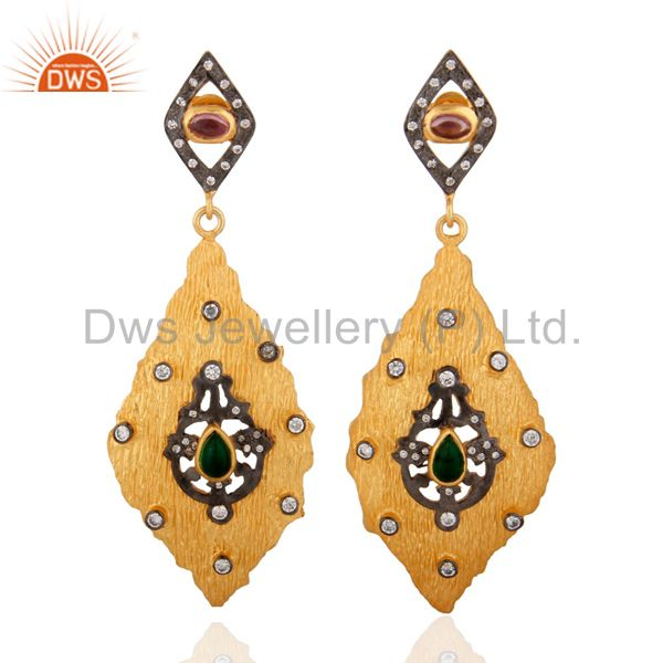 18K Yellow Gold Plated Dangle Earrings Matte Finish White Zircon Earrings