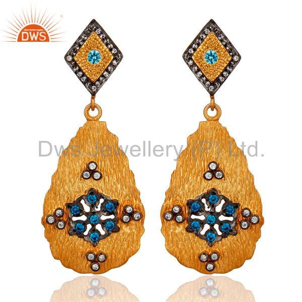 24K Yellow Gold Plated White Cubic Zirconia Dangle Fashion Earrings