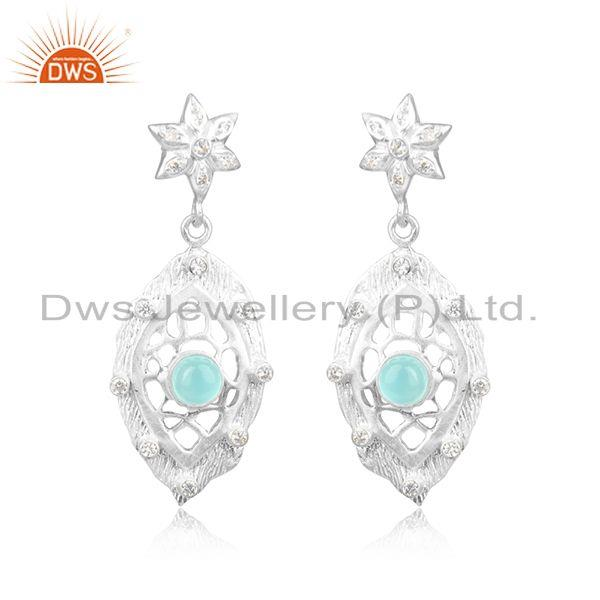 Floral Textured Rhodium on Fashion Aqua Chalcedony and Cz Dangle