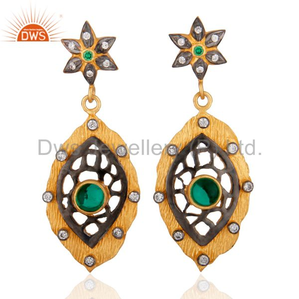 Simulated Diamond Green Glass Antique Look Earring 18k Yellow Gold Plated