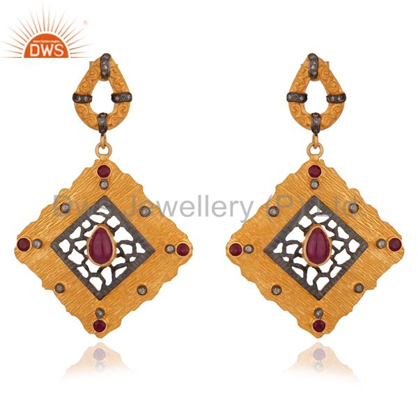 Victorian Mughal Style 925 sterling Earrings Ruby Ruby Diamond Earrings Jewelry