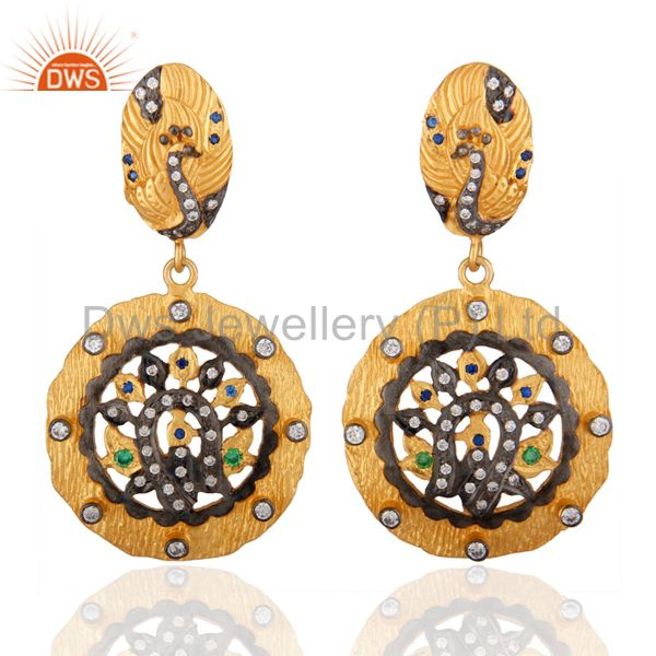 Traditional Peacock Designer 24k Gold Plated Cubic Zirconia Dangle Earring