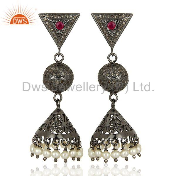 Pearl Gemstone Pave Diamond Indian Wedding Earrings Jewelry Supplier