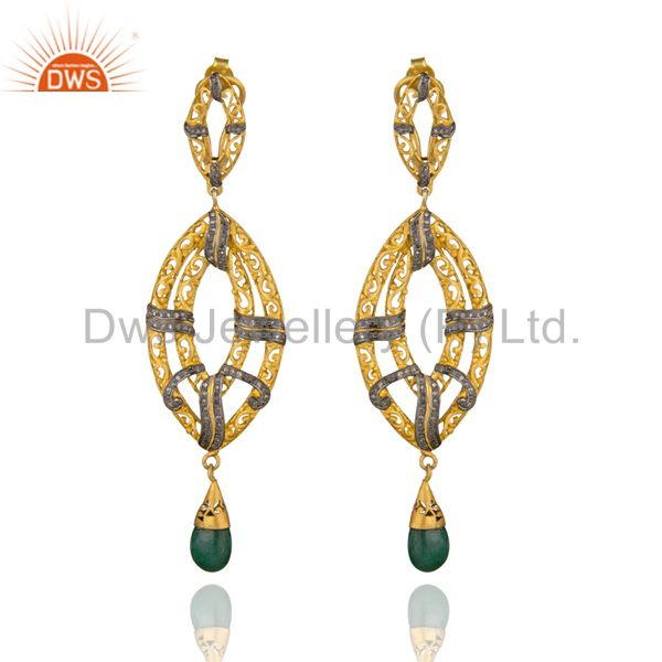 Indian Handmade 18k Gold Pave Diamond Emerald Drop Gemstone Earring Jewelry