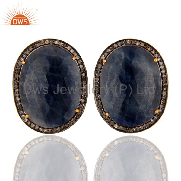 Natural Rich Blue Sapphire Diamond 18k Gold Plated 925 Sterling Silver Earrings