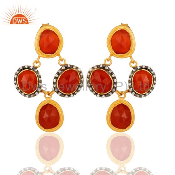 Natural Carnelian Gemstone Sterling Silver With Gold Plated Chandelier Earrings