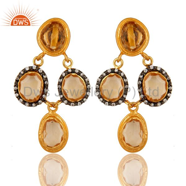 14K Gold Plated Sterling Silver Citrine And White Zircon Earrings