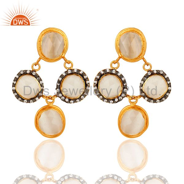 Design White Moonstone Sterling Silver CZ Earrings - Gold Plated