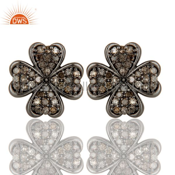 925 Sterling Silver Handmade Pave Diamond Flower Design Studs Earring Jewelry