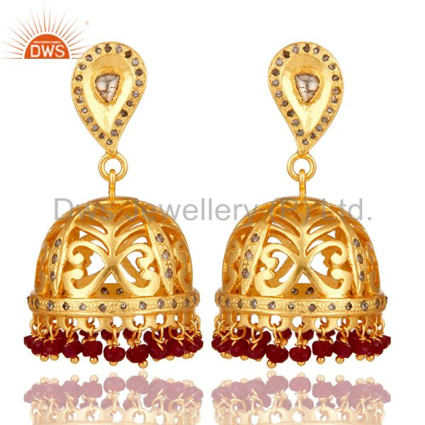 Natural Ruby and Diamond 18K Gold Plated Sterling Silver Jhumka Earring