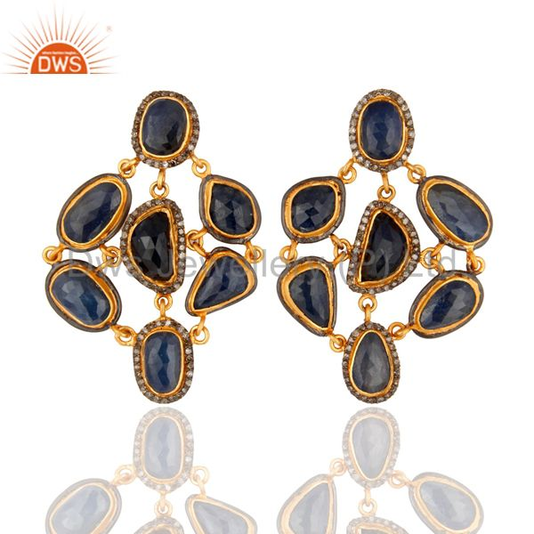 Handmade Pave Diamond Natural Blue Sapphire Gemstone 925 Sterling Silver Earring