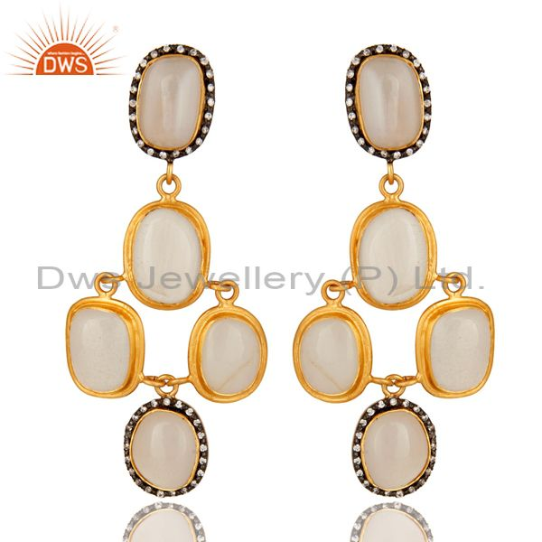 18K Yellow Gold Plated Sterling Silver White Agate & CZ Designer Dangle Earrings