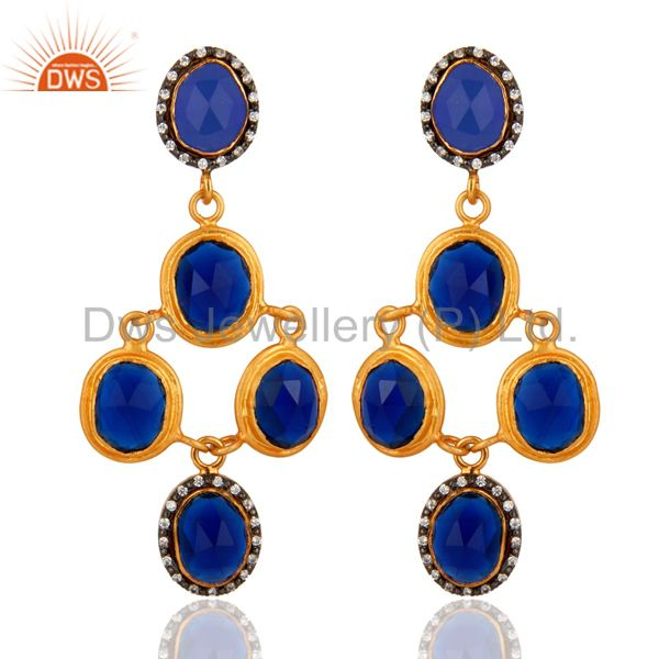 Stunning Gold Plated Sterling Silver Blue Corundum Gemstone Designer Earrings