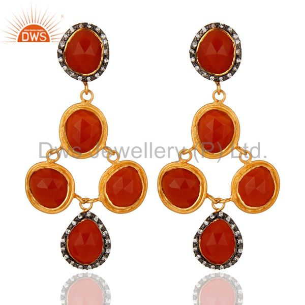 18ct Yellow Gold Plated on Sterling Silver Carnelian Gemstone Earring With CZ