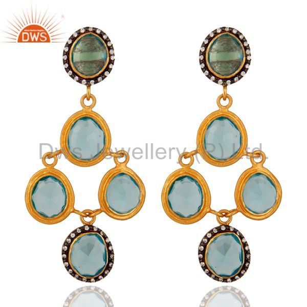 18K Gold Plated 925 Sterling Silver Created Blue Topaz Gemstone Earring With CZ