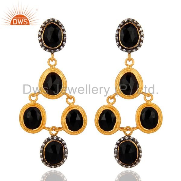 Handmade Sterling Silver Black Onyx Gold Plated Gemstone Earrings With Zircon