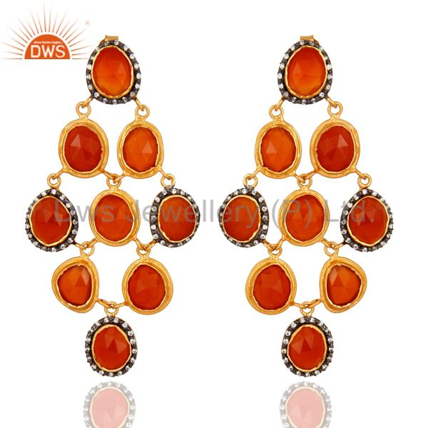 24k Gold Plated 925 Sterling Silver Carnelian Gemstone Chandelier Earring