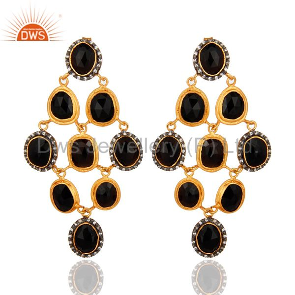 Black Onyx Gemstone Designer Chandelier Earrings In 18K Gold On Sterling Silver