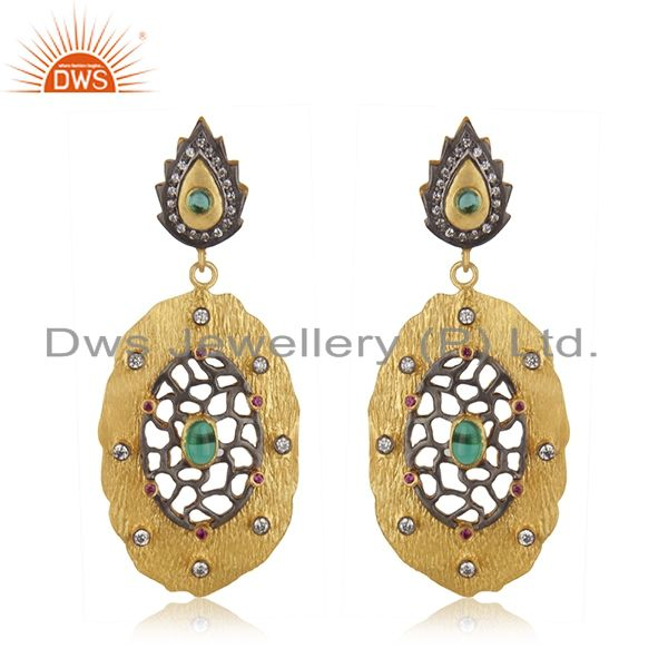 18kt Gold Plated Cubic Zirconia Green Glass Designer Handmade Earring Jewelry