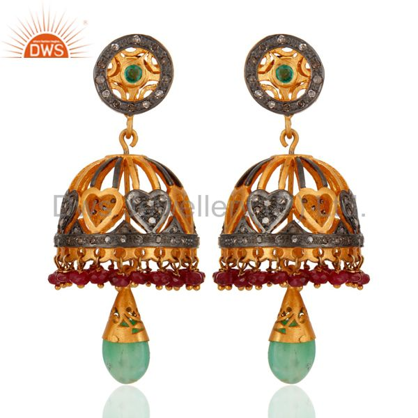 Top Quality Emerald / Ruby Gemstone Studded 18k Gold Sterling Silver Earrings
