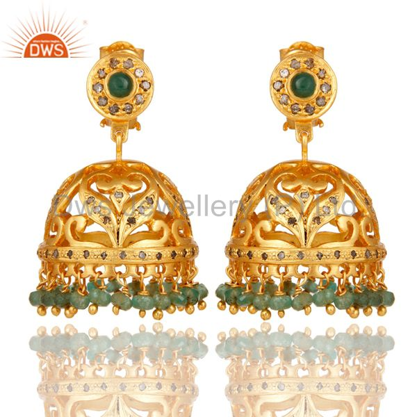 Emerald and Diamond 18K Gold Plated Jhumka Sterling Silver Traditional Earring