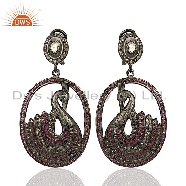 Traditional Pave Diamond 925 Silver Earrings Jewelry Manufacturer