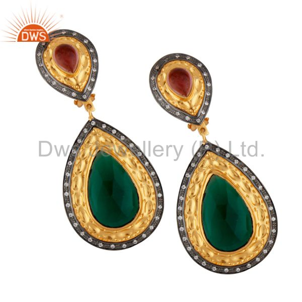 14K Yellow Gold Plated Brass Green Glass And CZ Wedding Fashion Drop Earrings