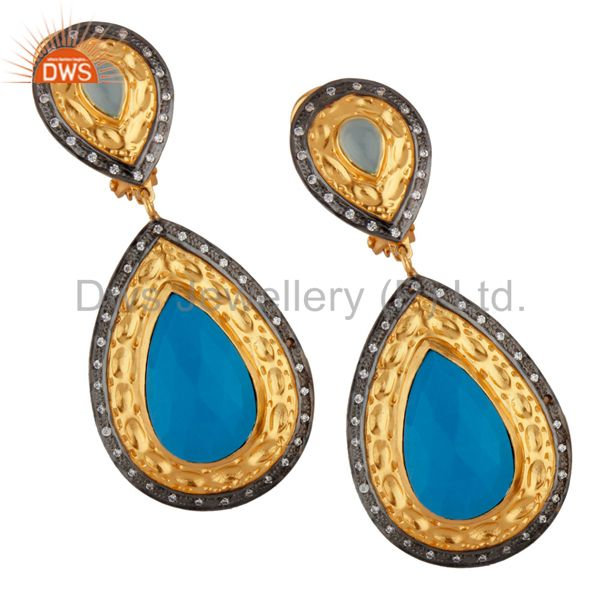 14K Yellow Gold Plated Brass Turquoise And CZ Bridal Fashion Drop Earrings