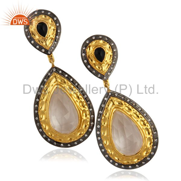 14K Yellow Gold Plated Brass Crystal Quartz And CZ Designer Dangle Earrings