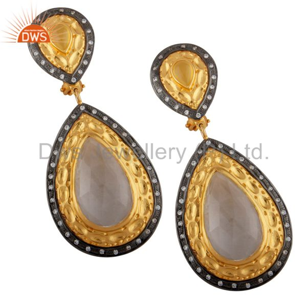 Fashion Ladies 18k Gold Plated Chalcedony & Crystal Zircon Clip On Stud Earrings