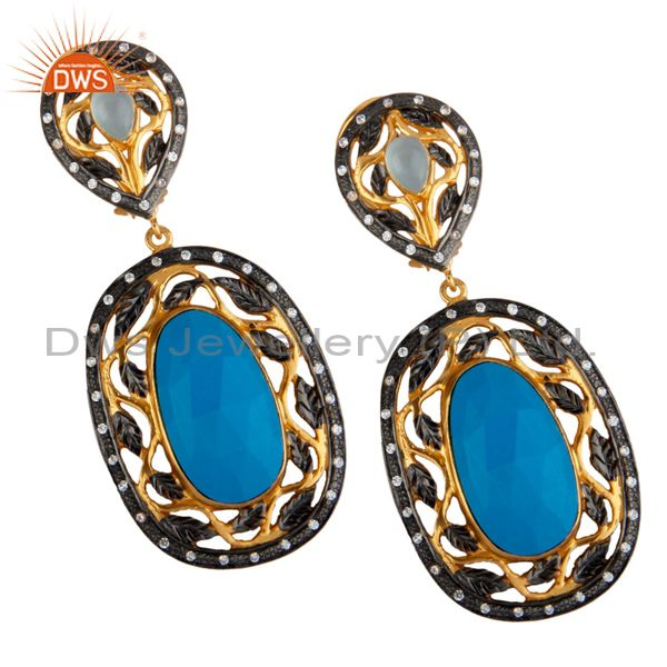14K Yellow Gold Plated Brass Turquoise And CZ Womens Designer Dangle Earrings