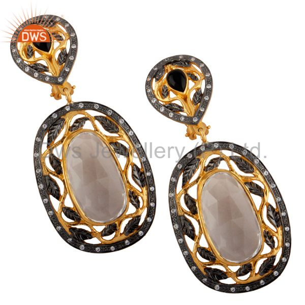22K Yellow Gold Plated Crystal Quartz And Black Onyx Fashion Dangle Earrings