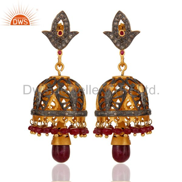 Classic Diamond 18K Gold Over 925 Silver Ruby Beads Lady Charming Jhumka Earring