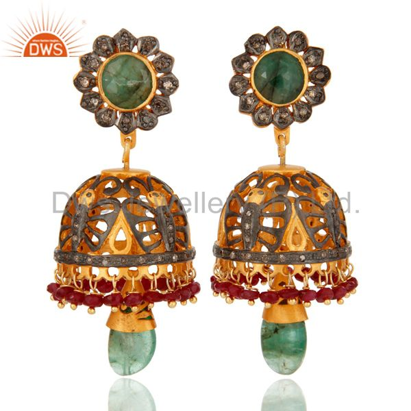 Sterling Silver Ruby & Emerald Gemstone Pave Diamond Traditional Jhumka Earring