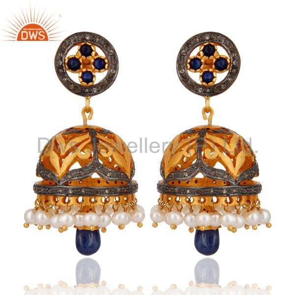 925 Sterling Silver Pave Diamond Blue Sapphire Jhumka Dangle Earring