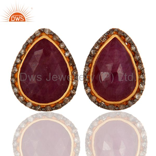 Handmade 18K Gold On 925 Sterling Silver Ruby Gemstone Pave Diamond Stud Earring