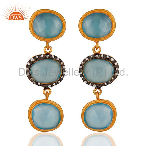 925 Sterling Silver Blue Chalcedony Gemstone 18K Yellow Gold Plated Earring